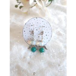 Zöld-opál angyalos ásvány fülbevaló