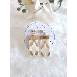Fehér-arany textil fülbevaló