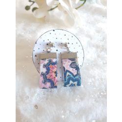 Kék-rózsaszín textil fülbevaló