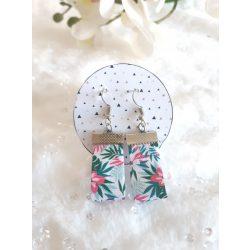 Zöld-rózsaszín textil fülbevaló
